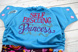 Self Rescuing Princess <br>Embroidered Half & Half, One Size Pocket Diaper<br>Instock and Ready to Ship