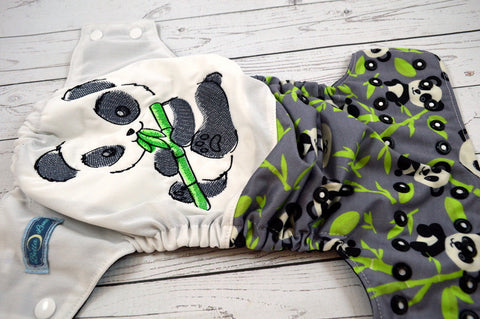 Panda Half<br>Embroidered Half & Half, One Size Pocket Diaper<br>Instock and Ready to Ship