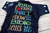 Jesus Loves Me ( navy outer, seaspray snaps ) <br>Embroidered, One Size Pocket Diaper<br>Instock and Ready to Ship