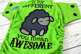 Spring Green You Mean Awesome ( spring green outer, two-toned snaps - black caps / silver pieces) <br>Embroidered, One Size Pocket Diaper<br>Instock and Ready to Ship