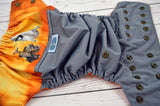 Wall-e World ( gray outer, bronze snaps ) <br>Wrap Around, One Size Pocket Diaper<br>Instock and Ready to Ship