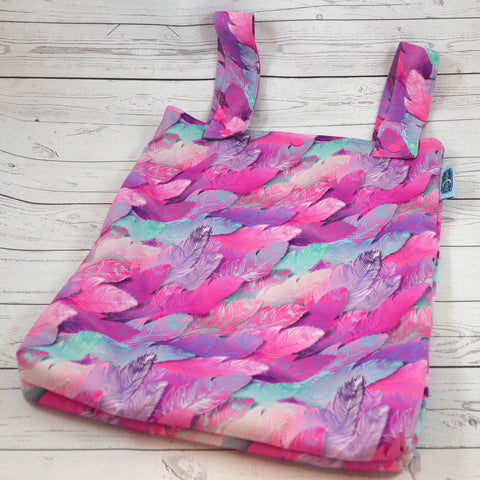 Fuschia Feathers, Designer Printed Double Hanging Wetbag<br>Instock and Ready to Ship