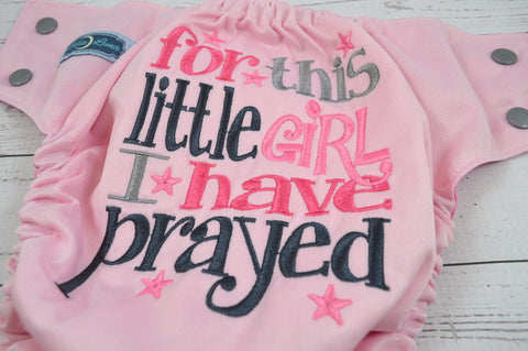 For this Girl, I have Prayed (light pink outer, raspberry inner, silver snaps)<br>Embroidered, One Size Pocket Diaper<br>Instock and Ready to Ship
