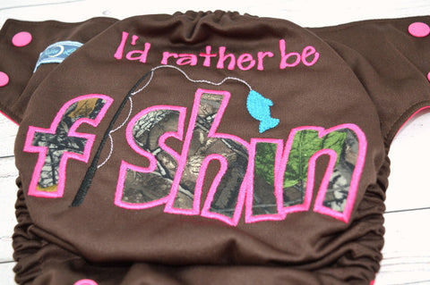 Pink I'd Rather be Fishin' (brown outer, magenta inner, hot pink snaps)<br>Embroidered, One Size Pocket Diaper<br>Instock and Ready to Ship
