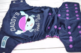 Violet First Mate (navy outer, violet awj, two toned snaps; silver caps, violet pieces)<br>Embroidered, One Size Pocket Diaper<br>Instock and Ready to Ship