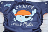 Orange First Mate (navy outer, orange awj, two toned snaps; silver caps, orange pieces)<br>Embroidered, One Size Pocket Diaper<br>Instock and Ready to Ship