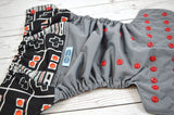 80s Controller (gray outer, black inner, red snaps)<br>Wrap Around, One Size Pocket Diaper<br>Instock and Ready to Ship
