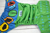 Rock, Paper, Lizard, Spock (kelly outer, aqua inner, two toned snaps; marigold caps, aqua pieces)<br>Wrap Around, One Size Pocket Diaper<br>Instock and Ready to Ship