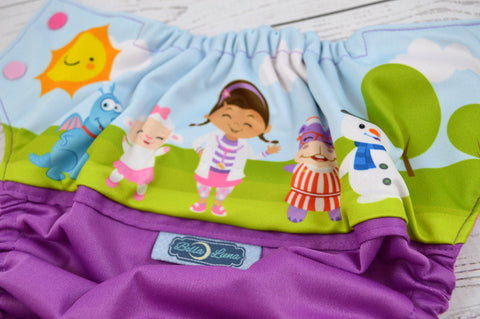 Little Doc (violet outer, raspberry inner, light pink & hot pink alternating snaps)<br>Wrap Around, One Size Pocket Diaper<br>Instock and Ready to Ship