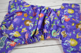 Purple Mermaid (lavender awj, med purple snaps)<br>Traditional, One Size Pocket Diaper<br>Instock and Ready to Ship