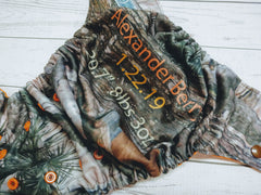Forest Floor - Orange<br>Custom, Digi Birth Announcement<br>One Size Pocket Diaper