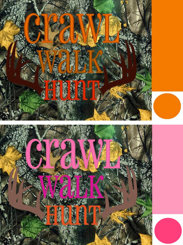 *RESERVED* Crawl, Walk Hunt Embroidered *PRE ORDER* <br>Your choice of Pink or Orange Colorway<br>One Size Cloth Pocket Diaper