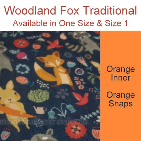 *RESERVED* Woodland Fox DoD Traditional *PRE ORDER*<br>Newborn/Size 1 -OR- One Size Cloth Pocket Diaper for Julia Ritchie