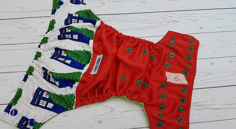 Christmas Tree Police Box (14)<br>BLACK FRIDAY DTP<br>One Size Pocket Diaper<br>Instock and Ready to Ship