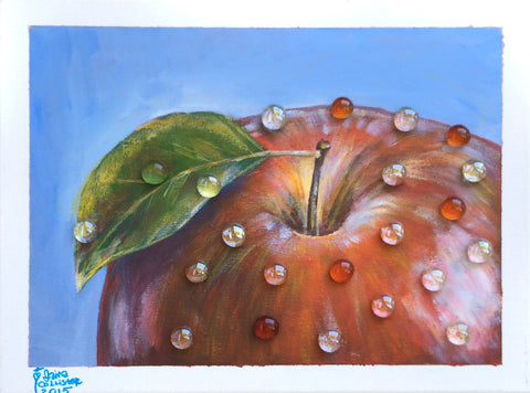 Red apple with water drops. - Irina Collister Art