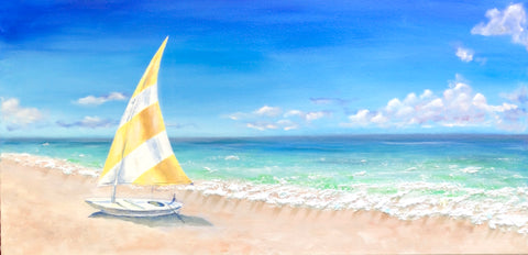 Sail boat on the shore. - Irina Collister Art