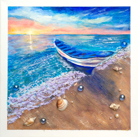 Ocean sunset with the boat - Irina Collister Art