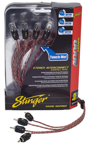STINGER 4000 SERIES 4 CHANNEL RCA CABLE (SI4412=12ft/3.66m)