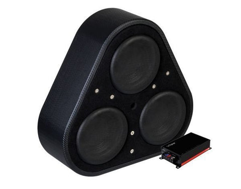 VIBE BLACKAIRP8ACTIVE-V6: Black Air Wheel Well Triple 8 Inch Passive Radiator Active Subwoofer Enclosure Bass Package