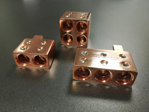 Copper amplifier inputs, DUAL, TRIPLE, QUAD for 0 gauge cable