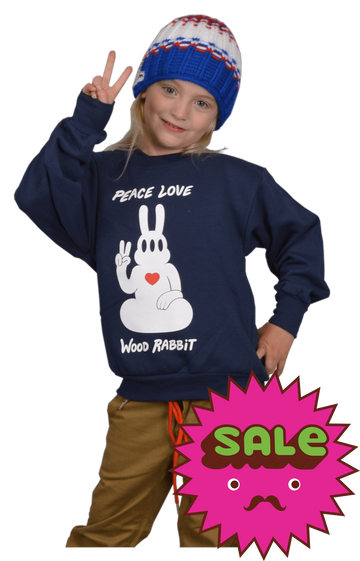 Peace Rabbit Kids Crew Neck Sweatshirt, Kid's Sweatshirts - Carter SB