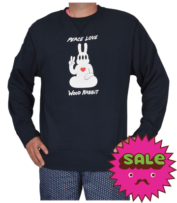 Peace Rabbit Men's Vintage French Terry Crew Neck Sweatshirt, Men's Sweatshirts - Carter SB