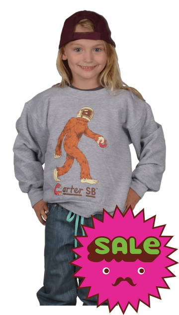 Space Squatch Kids Crew Neck Sweatshirt, Kid's Sweatshirts - Carter SB