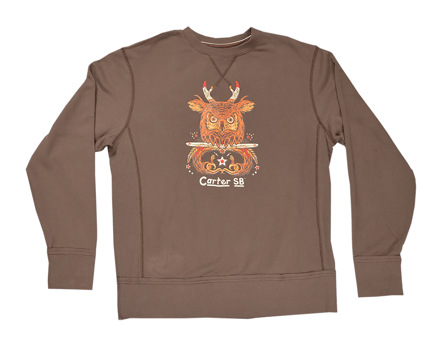Owl Jack Men's Vintage French Terry Crew Neck Sweatshirt, Men's Sweatshirts - Carter SB