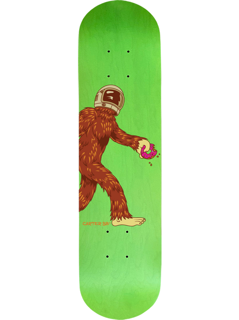 Complete Space Squatch on a Green Skateboard