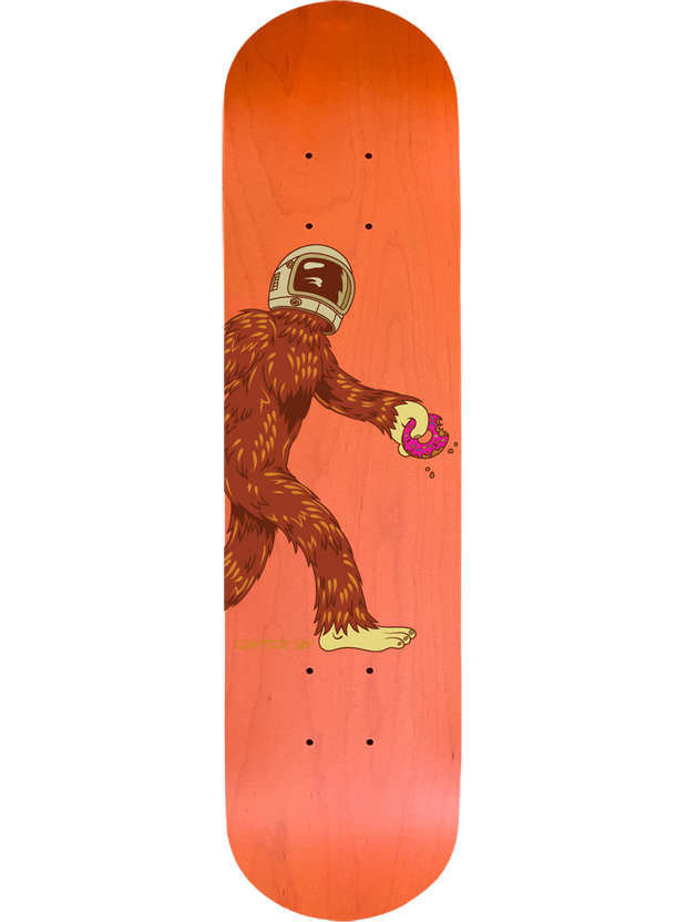 Complete Space Squatch on an Orange Skateboard