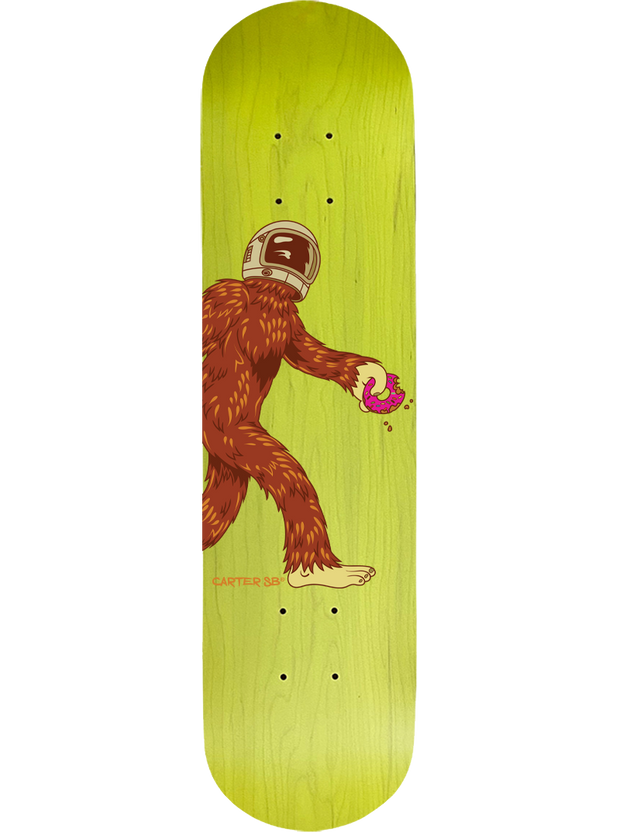 Complete Space Squatch on a Yellow Skateboard