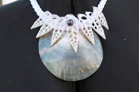 Mother of pearl and cut shell necklace