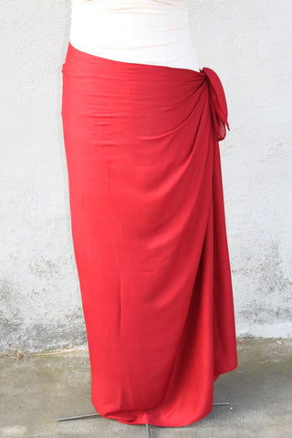 Red Plus sized pareo, rayon, fringeless