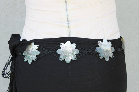 Tiare flower Mother of pearl shell belt-Tahitian costume