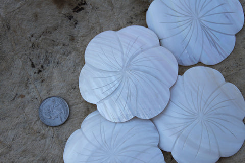 Large white shell pendant, flower shape 3 inch