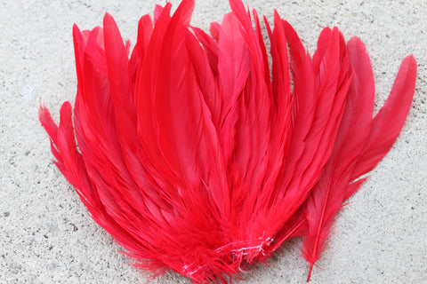 Premium red coque feathers, red rooster feathers, Tahitian costumes