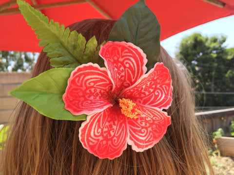 Tattoo print hibiscus hair clip