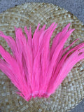 Premium pink coque feathers, light pink rooster feathers, Tahitian costumes