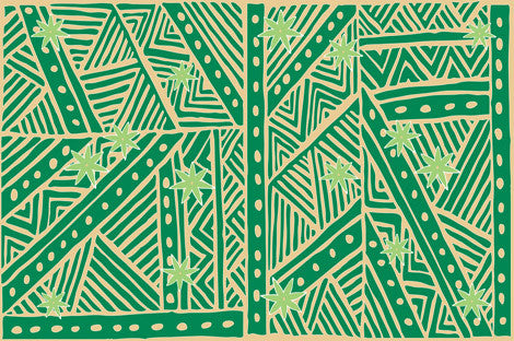Tapa print in greens and light orange or tan color.Half sized  Tahitian pareo, 100% Rayon