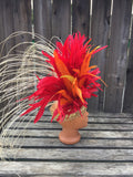 Tahitian headpiece in red, orange and yellow
