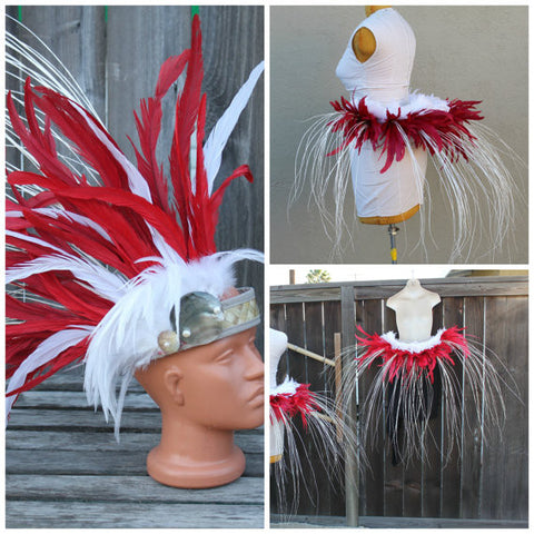 Tahitian dance costume, headpiece and hipbelt set
