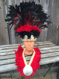 Mens or boys Tahitian headpiece and neck hei set- in Black and red, Tahitian costume, Polynesian, neck hei, complete costume, headdress
