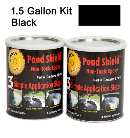 Pond Armor Pond Shield   1-1/2 Gallon Kit  Black Non Toxic Epoxy Paint