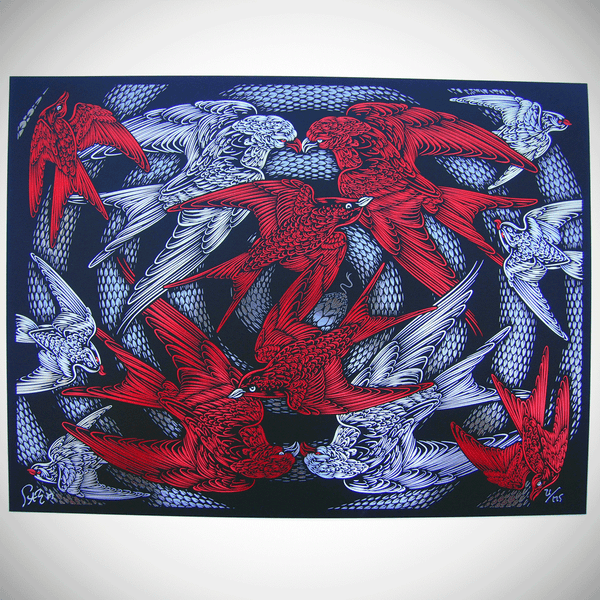 Escher's Relativity - black/red to 175