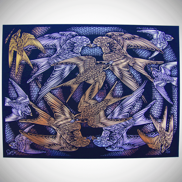 Escher's Relativity - black/gold to 175