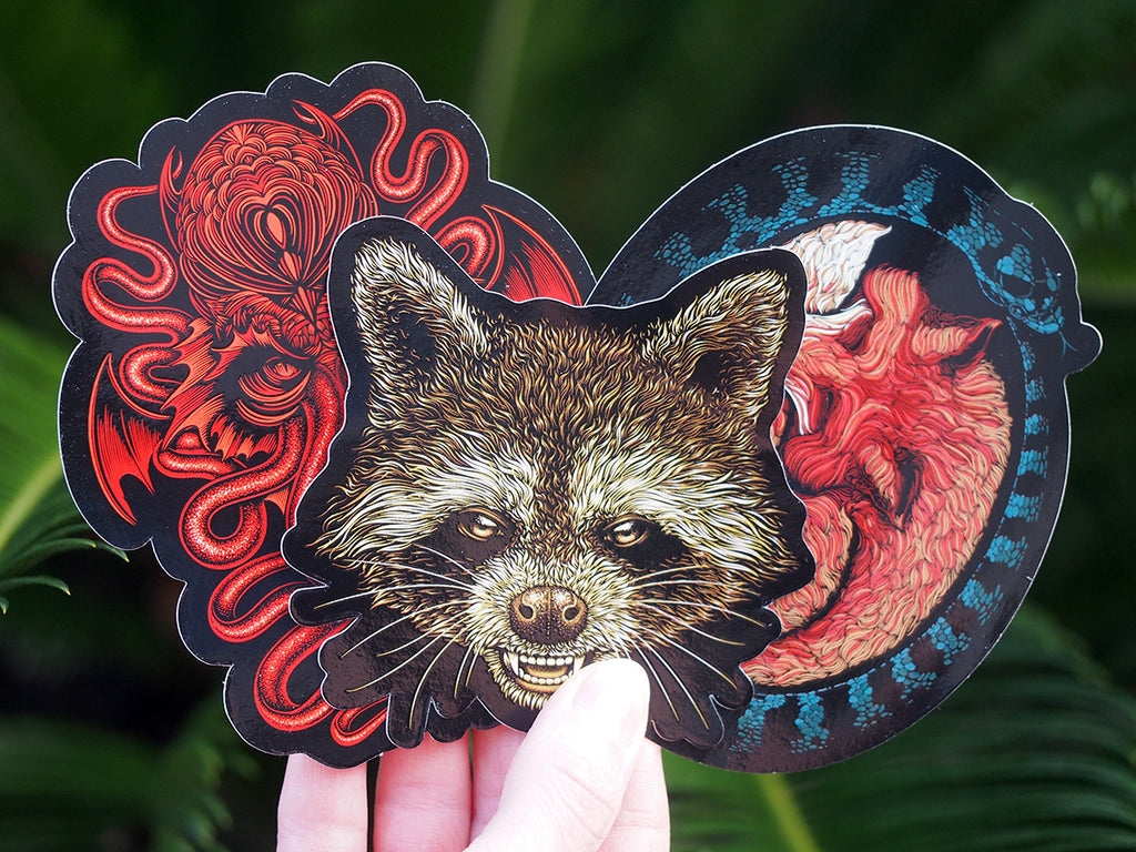 Sticker set - Raccoon, Fox and Cthulhu