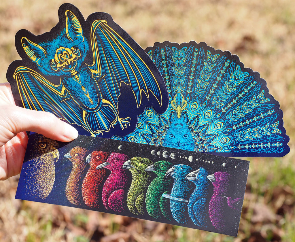 Sticker set - Bat, Peacock and Universe Birds