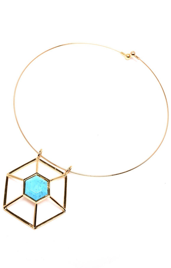 Turquoise-Howlite Hexagon Statement Necklace - Free Wear USA