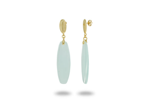 Golden Oval Aqua Crystal Earrings - Free Wear USA