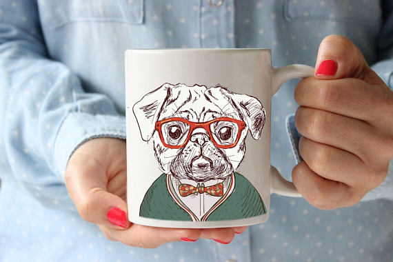 PUG Painting Coffee Lovers Gift Mug Coffee Mug Office Gift For Kids Cup Kitchen Decor Hipster Animal Hipster Mug Coffee Lover Gift Tea Cup - Free Wear USA